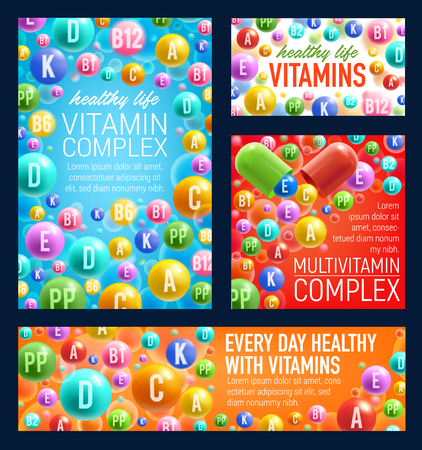 Vitamin pills, healthy life or pharmacy vecotr. Multivitamin complex of A, B or C and D o PP acids vitamin capsules, diet, nutrition and dietary supplement Illustration