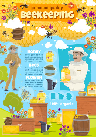 Beekeeping. Beekeeper man at apiary taking organic natural honey from hive. Vector cartoon honey bees swarm in honeycomb and flowers, wooden beehive
