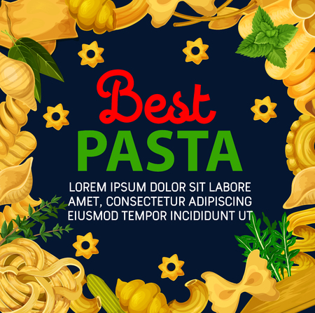 Italian pasta of traditional stelle, farfalle or fettuccine and eliche maccheroni with linguine or spaghetti and penne. Vector Italy food and premium restaurant menu with seasonings and herbs