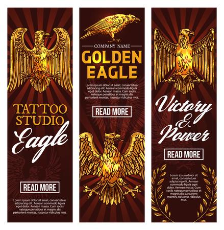 Studio de tatouage d'aigle gothique. Croquis vectoriel griffon doré héraldique avec bec, ailes déployées et griffes dans une couronne de laurier comme symbole de victoire et de puissance