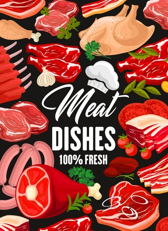 Meat, sausages and poultry products, butcher shop. Vector turkey, chicken leg or beef jamon and pork ham with brisket and mutton ribs delicatessen with chef hat Illustration