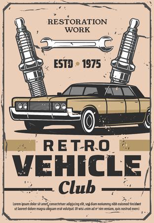 Retro voertuigclub en oldtimerservice. Restauratie werkzaamheden. Vector oud voertuig en bougies met moersleutel, mechanische reparatie en garagestation
