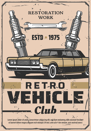 Retro vehicle club and vintage car service. Restoration work. Vector old vehicle and spark plugs with wrench, mechanic repair and garage station
