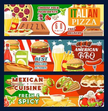 Fast food delivery menu for Italian pizza, Mexican cuisine or BBQ meals and burgers. Vector beer glass, fries or tacos with burrito and enchilada, hot dog sausage sandwich and kebab grill