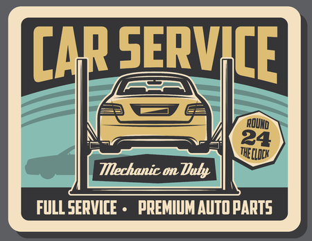 Car service, garage mechanic repair station. Vector retro design of vehicle on garage car lift, engine or chassis diagnostics and restoration Illustration