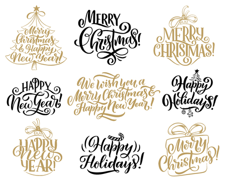 Merry Christmas and Happy New Year hand drawn lettering. Winter holiday greeting wishes calligraphy, decorated with Christmas tree, Xmas gift and ball. Greeting card and label embellishment