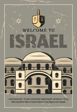 Welcome to Israel retro poster, avel and religious tourism theme. Buildings of old synagogue, chitecture vintage banner with stars of David and jewish Hanukkah dreidel