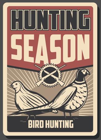 Cartel retro de deporte de caza, aves silvestres y armas. Pájaros faisán y codorniz, decorados con fusiles cruzados. Folleto promocional del club de cazadores y tema de temporada abierta