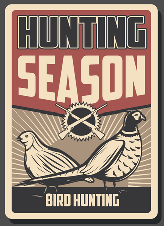 Hunting sport retro poster, wild birds and guns. Pheasant and quail birds, decorated with crossed rifles. Hunter club promo flyer and open season theme