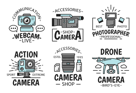 Video and photo camera technology equipment and devices. Digital, video and action camera, drone, webcam, lens and photographer accessories tsymbols. Creative and multimedia theme
