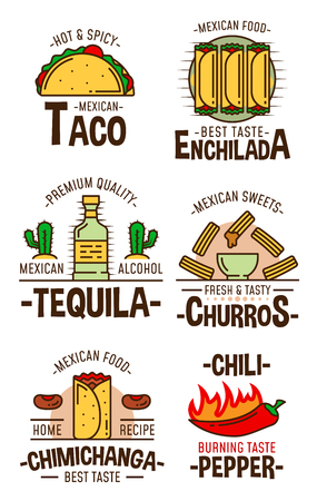 Mexican food and drink icons. Fast food tacos, enchilada and fried burrito chimichanga, chili pepper, sweet cookie churros and tequila alcohol bottle. Fastfood restaurant and cafe symbols Vector Illustration