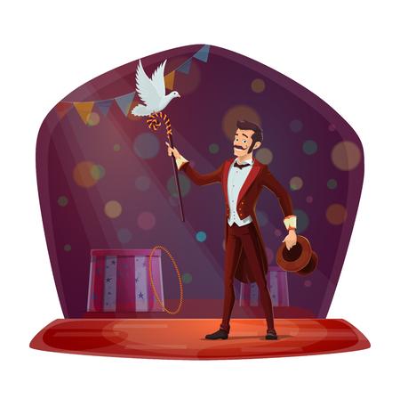 Magik wyczarował gołębia z magicznego kapelusza. Iluzjonista wykonujący sztuczki z białym gołębiem na scenie cyrkowej chapiteau. Pokaz magii, ulotka z zaproszeniem na wyobraźnię lub plakat