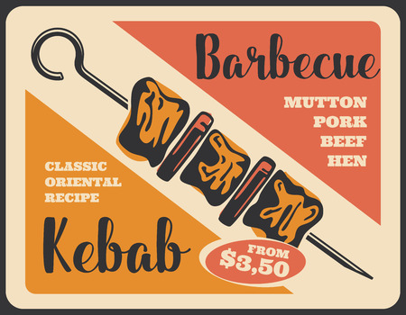 Kebab barbecue retro poster, grilled meat on skewer. Shish kebab with beef, pork and vegetables. Bbq restaurant menu and turkish cuisine meat dish Illustration