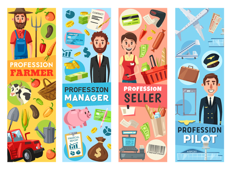 Professions of farmer, seller, pilot and business manager. Men and woman professional workers of agriculture, retail, transportation and finance with items, equipment and tools