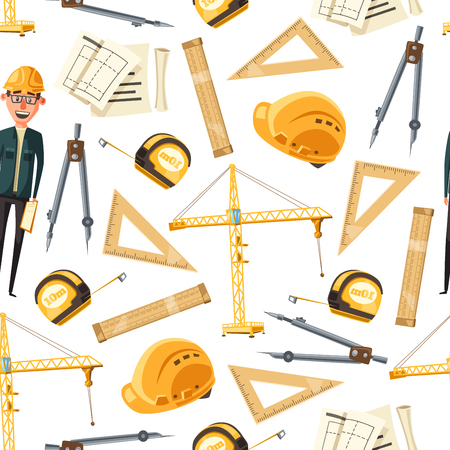 Engineer tools background. Vector seamless pattern of architect, drawings of construction project and ruler, tape measure, compasses, hard hat and crane. Construction engineering theme design Vetores