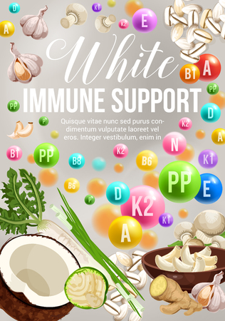 Color diet of immune support with white day vegetarian food ingredients. Vitamins and minerals in vegetables, fruits and nuts, cereal mushroom and spices. Health and dieting design