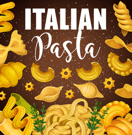 Italian pasta with popular mediterranean food and herbs. Pasta, macaroni and spaghetti, farfalle, penne and fusilli, lasagna, fettuccine and cannelloni, conchiglie, maccheroni and stelline