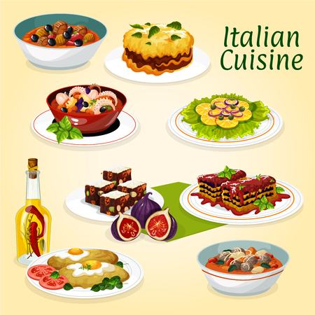 Italian cuisine soup, salad and desserts. Meat and vegetable lasagna, beef stew with tomato and olive, bean soup with meatball and cheese, orange salad, seafood stew, turkey milanese and fig fruit