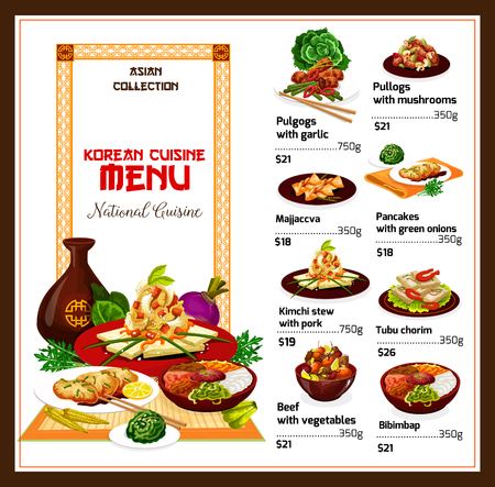Korean cuisine restaurant menu, vector. Rice bibimbap, kimchi stew with pork and vegetable, fried tofu, rice dessert, bbq beef meat bulgogi and pancake with onion. Asian spicy food Illustration