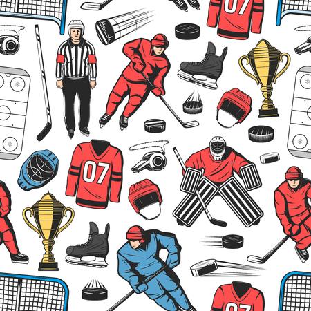 Fondo senza cuciture del modello di hockey su ghiaccio con i giocatori sulla pista. Avanti con disco, bastone e pattino, casco, cancello e portiere, fischietto, maschera da portiere e arbitro. Tema degli sport invernali