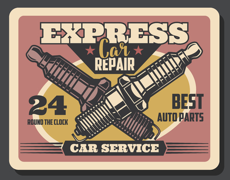 Car service spark plug retro poster. Auto repair, vehicle parts maintenance and diagnostic works. Spark plug old signboard, decorated with stars. Mechanic garage vintage advertising