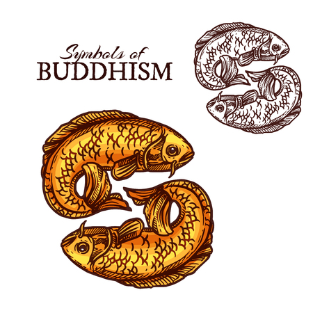 Buddhism religion symbols with fish symbolic attribute. Pair of golden fish or carp sketch symbolise auspiciousness and represented sacred rivers. Religion theme vector elements