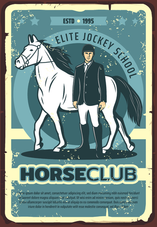 Horse racing sport vector poster, jockey with racehorse on hippodrome. Thoroughbred stallion animal and rider, equestrian competition or horse club retro banner design Illustration