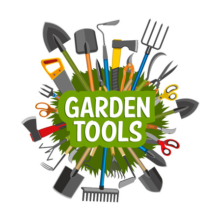 Gardening, planting and agriculture tools, equipment. Shovel, rake and trowel, scissors, spade and axe, saw, fork and sickle round badge, pruner, decorated with spring plant and green grass Illustration