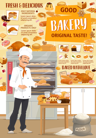 Bakery shop. Vector baker, bread and pastries. Pastry chef with bread, baguette and croissant, cake, bun and toast, pie, donut and cookie, candy, gingerbread and biscuit. Confectionery theme