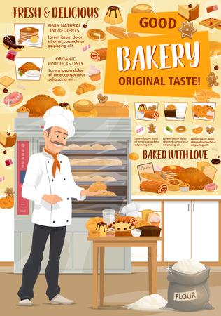 Pâtisserie. Boulanger de vecteur, pain et pâtisseries. Chef pâtissier avec pain, baguette et croissant, gâteau, petit pain et pain grillé, tarte, beignet et biscuit, bonbons, pain d'épice et biscuit. Thème de la confiserie Vecteurs