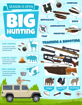 Vector duck bird and deer animal, hunter gun and cartridge belt, shotgun and rifle, ammunition, weapons and knife, compass, binoculars and trap. Hunting sport club, training and shooting course Ilustrace
