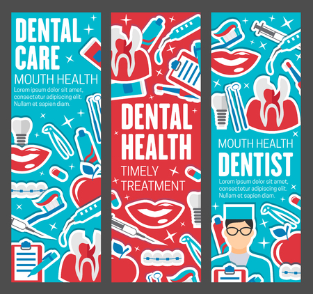 Dental care banners, dentistry medicine. Dentist doctor with teeth, oral hygiene tools and braces, implants, toothbrush and toothpaste, caries cavity and smile icons