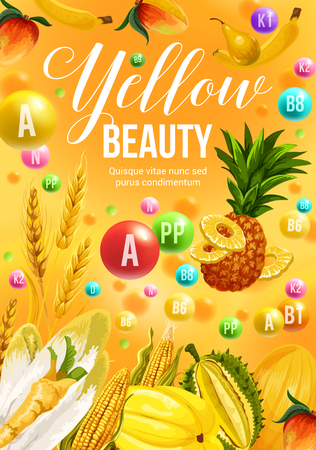 Color diet poster with yellow food ingredients and vitamin supplements. Corn vegetable, tropical mango, carambola and peach, banana and pineapple, wheat and cereal. Healthy nutrition and dieting theme