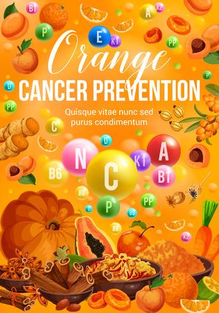 Nutrition diététique de couleur orange des légumes, des fruits et des épices. Vitamine vectorielle orange, papaye et pomme, pêche, carotte et citrouille, gingembre, cannelle et safran, abricot sec et argousier