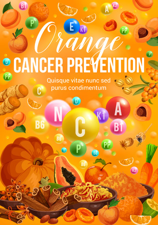Orange day color diet nutrition of vegetables, fruits and spices. Vector vitamin orange, papaya and apple, peach, carrot and pumpkin, ginger, cinnamon and saffron, dried apricot and sea buckthorn Illustration