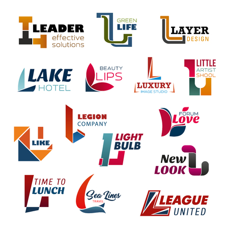 Letter L business icons with creative alphabet font, composed of abstract shapes. Corporate identity design for food, travel and fashion, sport, spa and hotel business industry Ilustração
