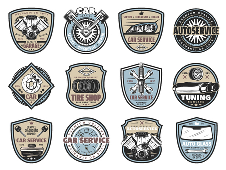Car repair service badges with auto spare part icons. Vehicle engine, spanner and wheel, tire, piston and spark plug on vintage shields. Mechanic garage label and transportation theme Illustration