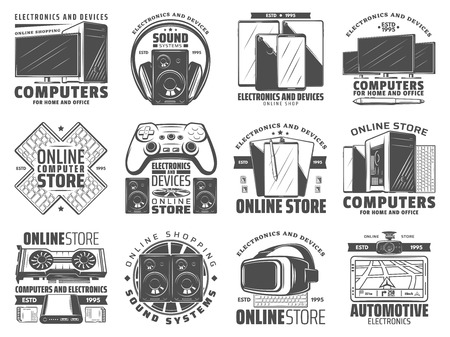 Electronic devices online store icons with gadgets for home and office. Computer, mobile phone and tablet pc, monitor, keyboard and loudspeaker, headphones, video game joystick and VR glassses symbols