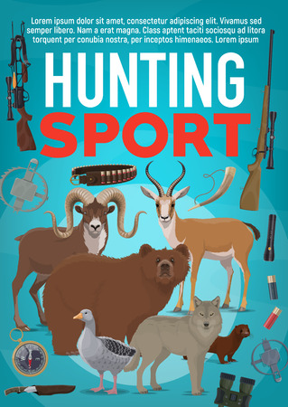Hunting sport poster, wild forest animals and hunter ammunition. Vector duck or goose, bear and wolf, african antelope, mouflon and polecat banner with rifle, crossbow, shotgun and knife, trap and compass