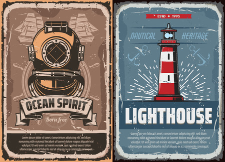 Nautical vintage compass rose, anchor and helm, old ship, sail boat and steering wheel, retro lighthouse and antique diver helmet. Sea travel, ocean cruise and marine adventure vector poster design Иллюстрация