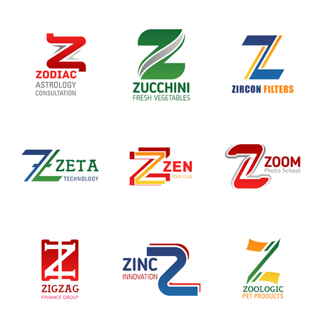 Letter Z vector icons of sport, food and finance, education, science and technology business identity. Corporate symbol, sign, emblem or badge design