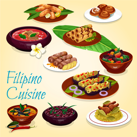 Filipino cuisine, meat and seafood dishes. Chicken rice, bean and pork stews, beef soup, mussel with coconut sauce and fried spring rolls, stuffed eggplant, fried banana and apple bun
