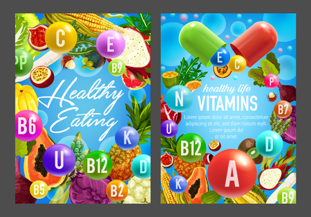 Food rich in vitamins, vector pills, vegetables and fruits. Orange, papaya and exotic durian, cabbage, asparagus and beet, pineapple, corn and pomegranate with vitamin pills Banco de Imagens - 110467648