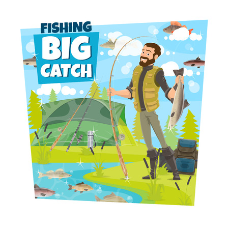 Fisherman with big catch of fish, fishing outdoor sport or hobby. Fisher with fishing rod, spinning and tent on river or lake with salmon, pike and perch, trout and bream Illustration
