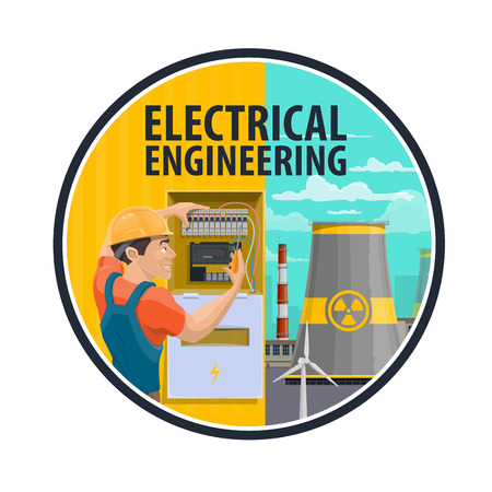 Electrical engineering poster, power industry theme. Engineer profession, electrician repairing electric meter, nuclear power plant and wind turbine