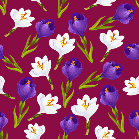 Spring flower seamless pattern background with crocus blossom. Vector floral backdrop of blooming garden plants with white and violet flourishes. Textile, wallpaper or tile theme