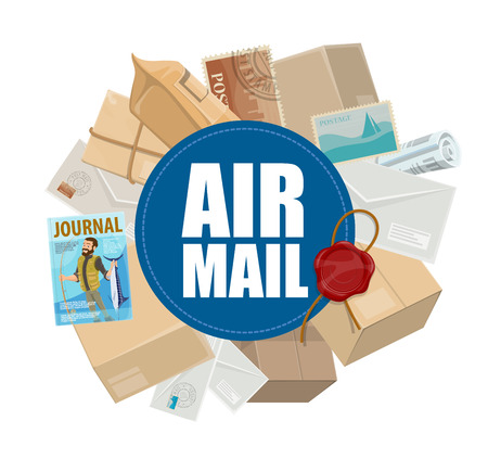 Posta aerea, servizio di consegna postale e tema delle merci aviotrasportate. Lettere, pacchi e buste, cartoline, francobolli e giornali con sigillo di ceralacca Vettoriali