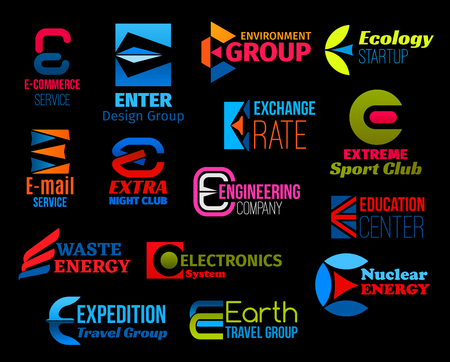 Business icons with creative font of letter E. Corporate vector symbol for sport, ecology and energy, e-commerce, travel, electronics and engineering company design with abstract shapes