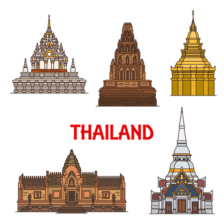 Travel landmarks of ancient Thailand architecture, vector icons. Thai golden Pagoda, Khao Takiab, Cham Dhevi, Prasat Hin Phanom Rung and Phra Borommathat Temples