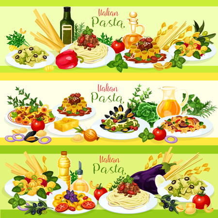 Italian cuisine pasta with meat, vegetable and seafood dishes. Spaghetti and rigatoni bolognese, farfalle with veggies and meat ravioli, linguine with cheese and mussels, shrimp tortellini